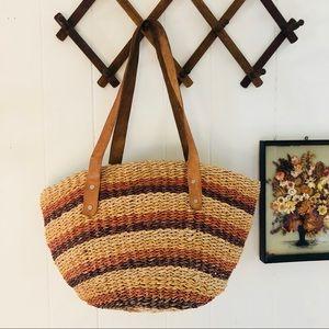 Vtg Woven Jute Market Bag